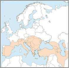 Distribution map of Myotis blythii