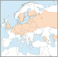 Distribution map of Myotis brandtii