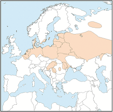 Distribution map of Myotis dasycneme