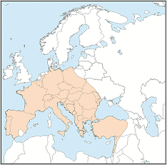Distribution map of Myotis myotis