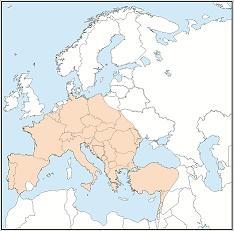 Distribution map of Myotis myotis