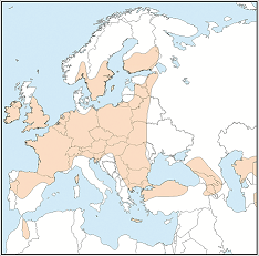 Distribution map of Myotis mystacinus
