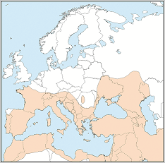 Distribution map of Pipistrellus kuhlii