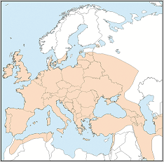Distribution map of Pipistrellus pipistrellus