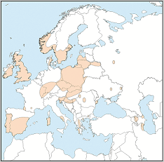 Distribution map of Pipistrellus pygmaeus