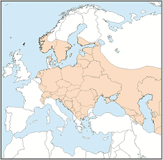 Distribution map of Vespertilio murinus
