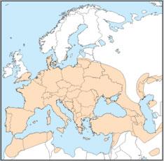 Distribution map of Eptesicus serotinus
