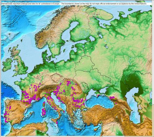 Internationally Important Underground Sites for M. schreibersii in Europe - The boundaries shown on the following maps do not imply official endorsement or acceptance by the United Nations.